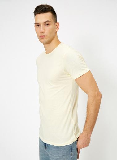 Koton Kisa Kollu Yuvarlak Yaka %100 Pamuk T-Shirt Sarı
